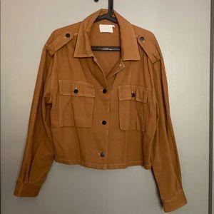 Lush Carmel Brown Crop Denim Jacket